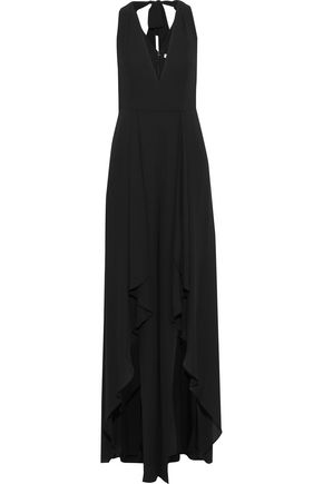 HALSTON HERITAGE Layered ruffled crepe jumpsuit