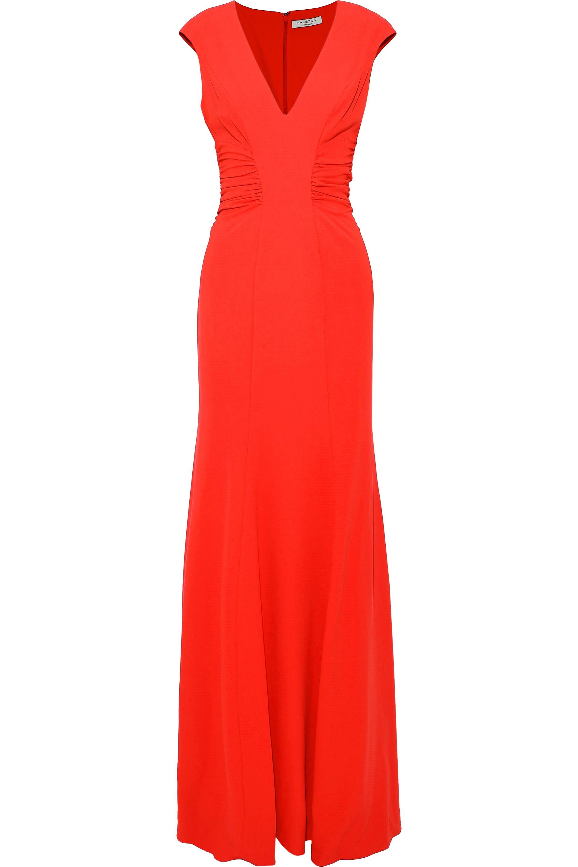 Halston Heritage Woman カットアウト ルーシュ入り ストレッチクレープ ロングドレス Tomato Red Size 2
