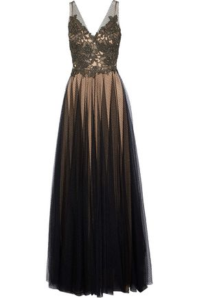 CATHERINE DEANE Knight metallic lace-paneled point d'esprit gown