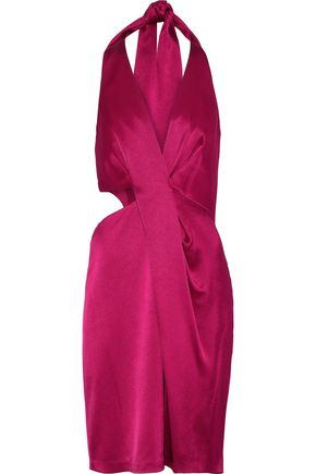 HALSTON HERITAGE Cutout draped satin mini halterneck dress