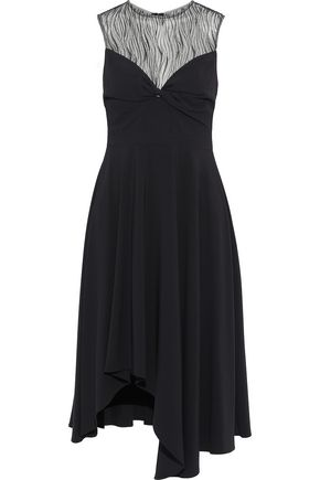 HALSTON Twist-front crepe and tulle dress