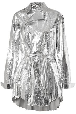 TRE by NATALIE RATABESI Louis pleated metallic coated-cotton top