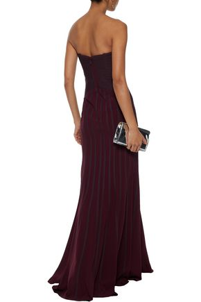 HALSTON HERITAGE Strapless two-tone crepe gown