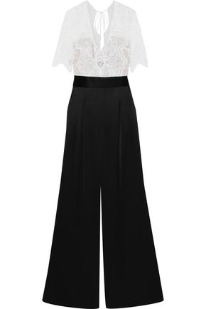 CATHERINE DEANE Kathleen bead-embellished two-tone lace and satin jumpsuit