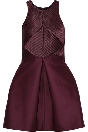HALSTON HERITAGE Satin-paneled cotton and silk-blend faille mini dress