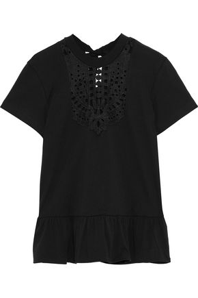 MARKUS LUPFER Ruffled broderie anglaise cotton-jersey T-shirt