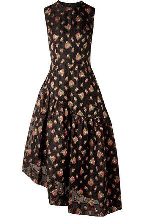 SIMONE ROCHA Asymmetric fil coupé organza midi dress