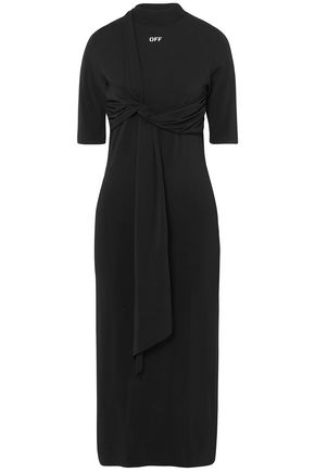 OFF-WHITE™ Knotted jersey midi dress