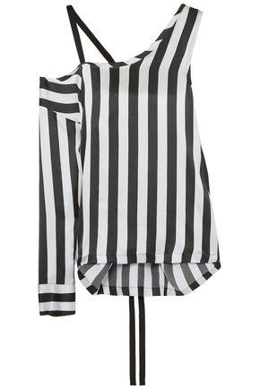 ANN DEMEULEMEESTER Cold-shoulder striped silk-satin top