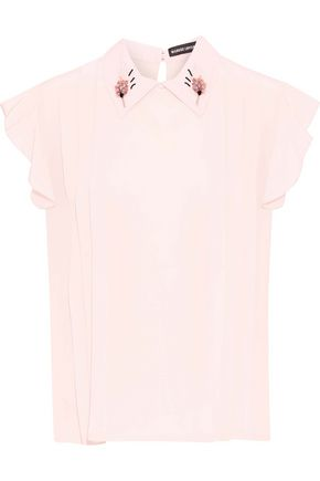MARKUS LUPFER Betty embellished pintucked silk crepe de chine shirt