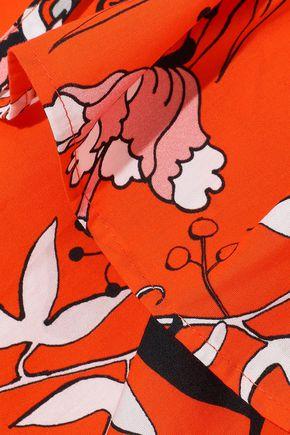 MARKUS LUPFER Cold-shoulder printed cotton-poplin top