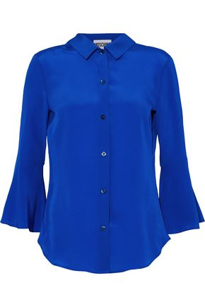 MOSCHINO Fluted silk crepe de chine shirt