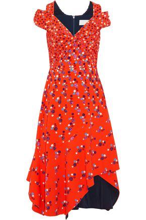 PETER PILOTTO Cold-shoulder embellished printed cady dress