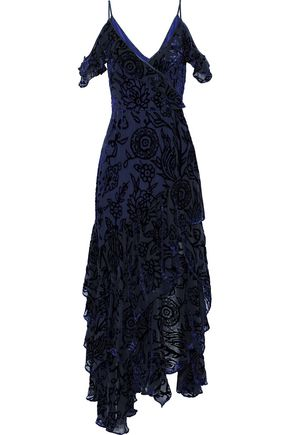 PETER PILOTTO Cold-shoulder ruffled devoré-chiffon gown