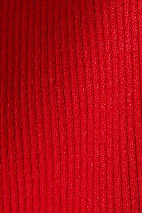 AMIRI Cutout one-shoulder ribbed-knit mini dress
