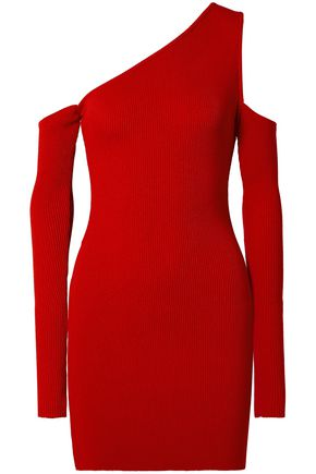 AMIRI Cutout one-shoulder ribbed-knit mini dress