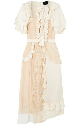 SIMONE ROCHA Ruffled embroidered tulle and silk-satin midi dress