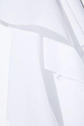 PETER PILOTTO Cold-shoulder cotton-blend poplin top