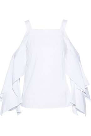 PETER PILOTTO Cold-shoulder cotton-blend poplin top