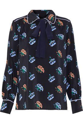 MARKUS LUPFER Carmen pussy-bow floral-print silk crepe de chine blouse