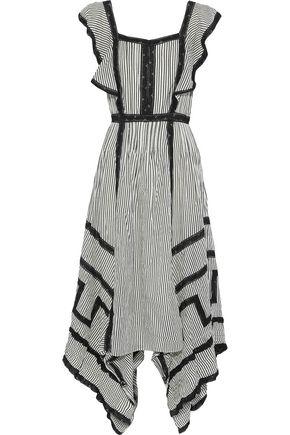 LOVE SAM Ruffled striped cotton-blend maxi dress