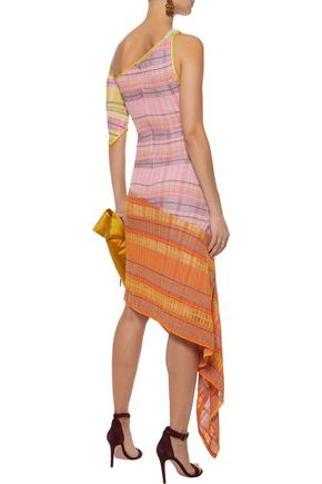 PETER PILOTTO One-shoulder metallic checked knitted dress