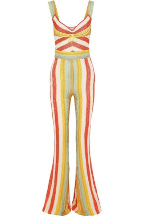 PETER PILOTTO Ruched striped knitted jumpsuit