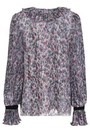 PHILOSOPHY di LORENZO SERAFINI Velvet-trimmed printed silk-chiffon blouse