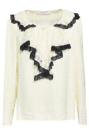 PHILOSOPHY di LORENZO SERAFINI Lace-trimmed jacquard blouse