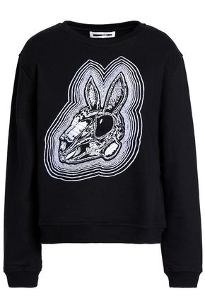 McQ Alexander McQueen Embroidered French cotton-terry sweatshirt