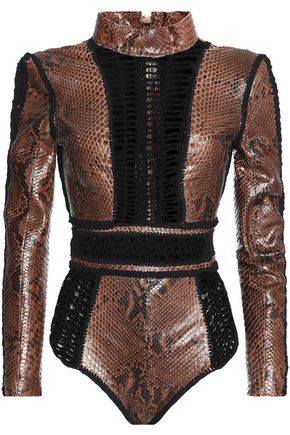 BALMAIN Paneled python bodysuit