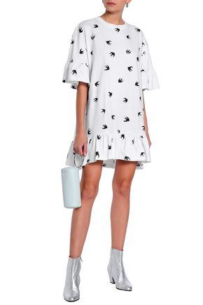 McQ Alexander McQueen Oversized printed cotton-jersey mini dress
