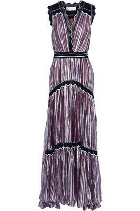 PETER PILOTTO Metallic striped silk-blend chiffon gown