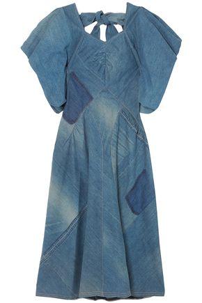 JUNYA WATANABE Bow-detailed patchwork denim midi dress
