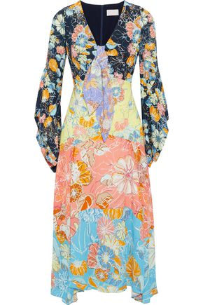 ANCIENT GREEK SANDALS x PETER PILOTTO Knotted floral-print crepe midi dress