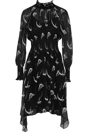 MARKUS LUPFER Diver Macy smocked printed silk-georgette dress