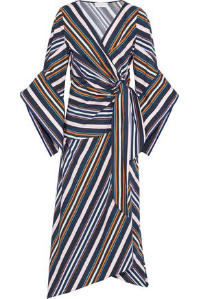 PETER PILOTTO Striped cotton-poplin maxi wrap dress