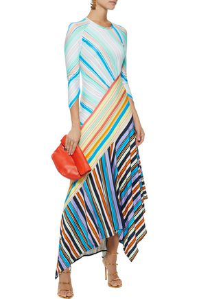 PETER PILOTTO Striped stretch-jersey midi dress