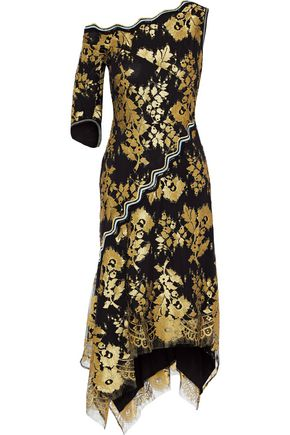 PETER PILOTTO One-shoulder metallic lace dress