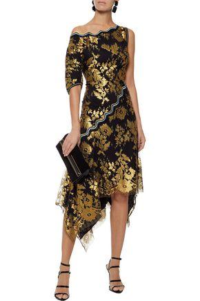 PETER PILOTTO One-shoulder metallic lace dress
