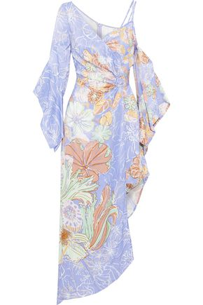 PETER PILOTTO Wrap-effect floral-print satin dress