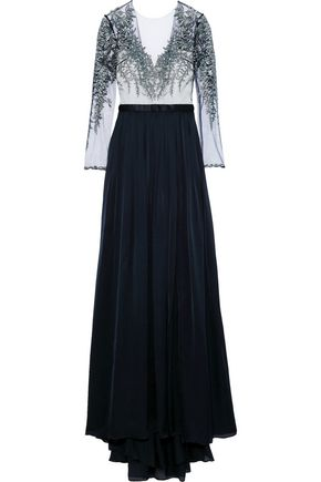 CATHERINE DEANE Kayley embroidered tulle-paneled silk-satin gown