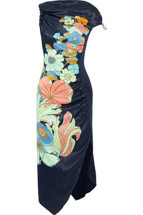 PETER PILOTTO Floral-print shirred satin midi dress