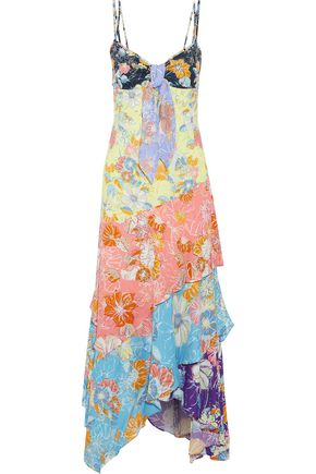 PETER PILOTTO Knotted tiered floral-print crepe maxi dress
