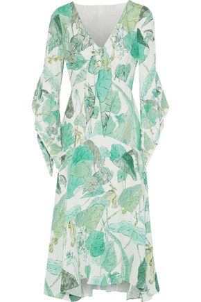 PETER PILOTTO Tie-front printed crepe de chine midi dress