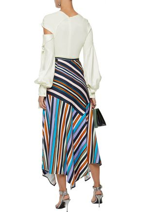 PETER PILOTTO Cutout draped satin-crepe blouse
