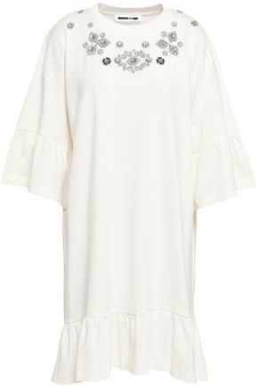 McQ Alexander McQueen Crystal-embellished cotton-jersey mini dress