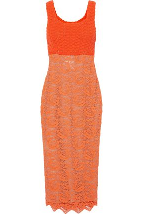 MOSCHINO Crochet and lace midi dress