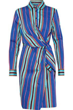 MOSCHINO Wrap-effect striped cotton-blend twill shirt dress