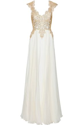 CATHERINE DEANE Klara open-back metallic lace-paneled silk-chiffon gown